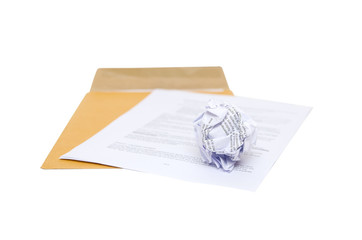 Isolated Crumpled paper on envelope