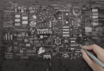hand drawing creative business strategy on texture background