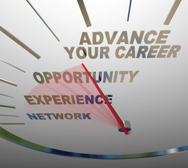 Advance Your Career Words Speedometer Job Promotion Raise