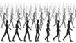 Silhouettes of women walking.