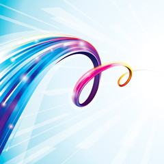 Abstract colorful curve digital technology background.