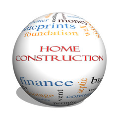 Home Construction 3D sphere Word Cloud Concept