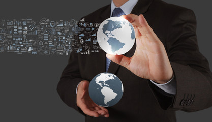 businessman showing the earth 3d and  social network structure a