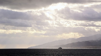 Clouds over Strait of Messina. Italy
