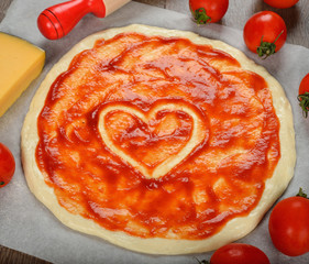 Ingredients for baking pizza