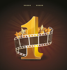 Gold number 1 with twisted filmstrip and glass stars against dar