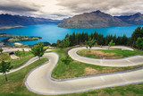 Luge track with lake and mountain, Queenstown, New Zealand