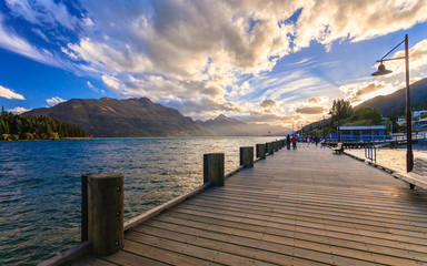 Wooden pier at lake Wakatipu, Queenstown, New Zealand