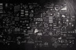hand drawn business strategy on dark texture background as conce
