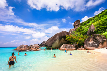 Beautiful beach and crystal clear sea at tropical island