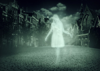 woman ghost walking down old town