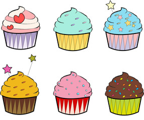 Set of Colourful Cupcakes