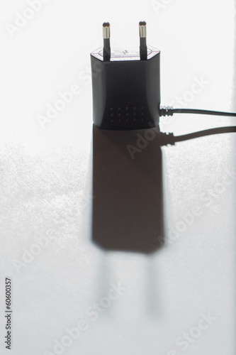 Plug of power supply on the white background
