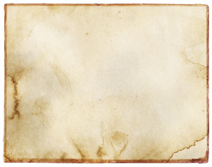 Old, vintage stained paper texture with frame