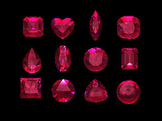 Group of  ruby shape with clipping path