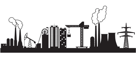 Eight urban and industrial buildings. Vector illustration