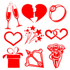 collection icon Valentine day, vector illustrations