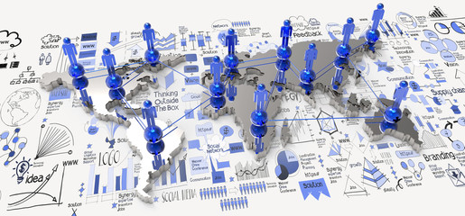 social network 3d on world map and hand drawn business strategy