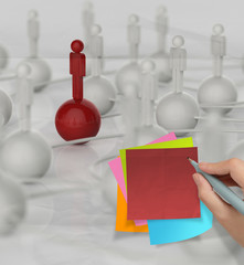 sticky note 3d human social network on crumpled paper background