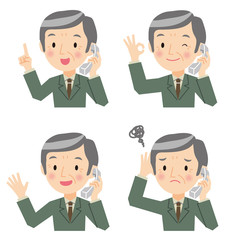 電話をしているシニアビジネスマン