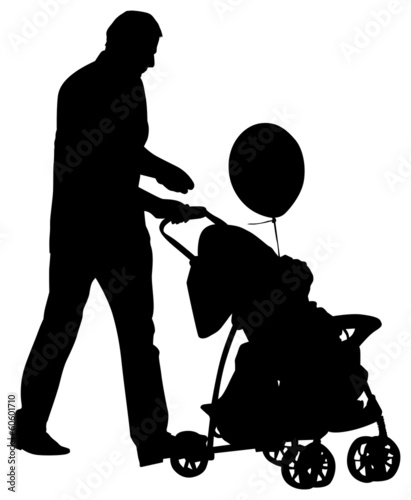 man with carriage isolated silhouettes