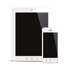 tablet and smartphone with black screen white background