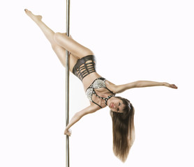 poledancer acrobatics trick  head over heels