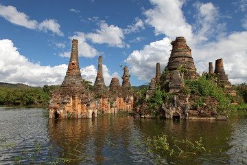 Ancient flooded pagodas near Samkar, Myanmar