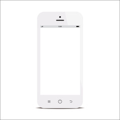 smartphone with blank screen on white background