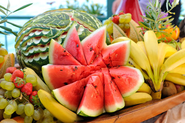 Heap of fresh colorful fruits
