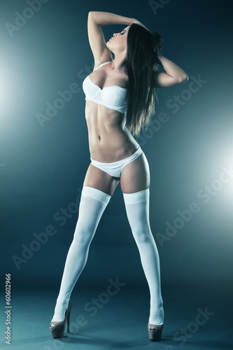 White lingerie and stockings