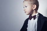 Handsome Little Boy in Black Suit.Stylish kid.children fashion