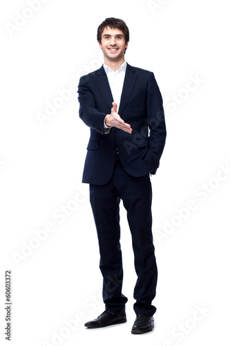 business man with hand ready to seal a deal