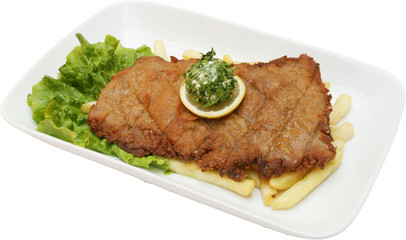 Meat pork cutlet with potatoes chips