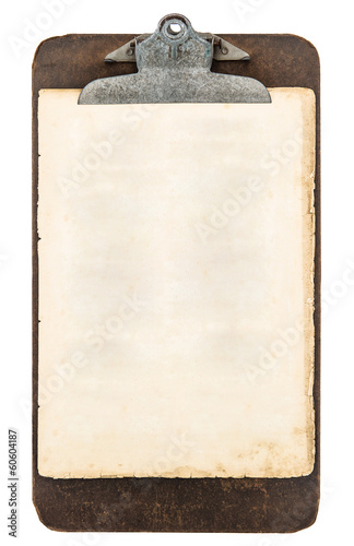 antique clipboard with sheet of paper isolated on white - 60604187