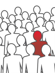 Unusual person in the crowd. Vector concept illustration.