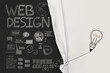 pencil lightbulb draw rope open wrinkled paper show web design i