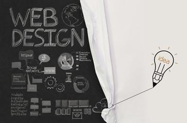 pencil lightbulb draw rope open wrinkled paper show web design i
