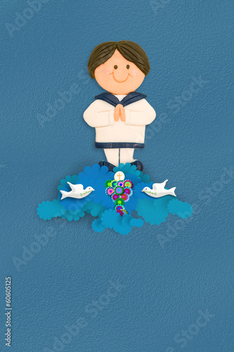 cheerful  sailor boy first communion  invitation