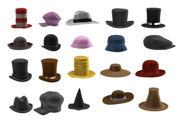 realistic 3d render of hat set