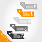orange infographic origami bent stickers