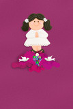 brown hair girl Holy Communion card