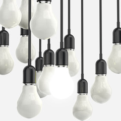 creative idea and leadership concept light bulb on grey backgrou
