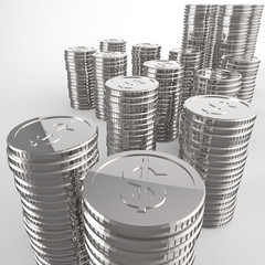 Stack of coins dollar sign 3d