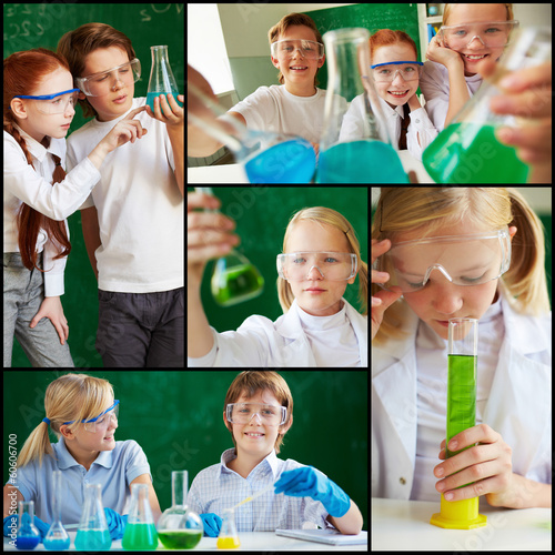 Children at chemistry lesson