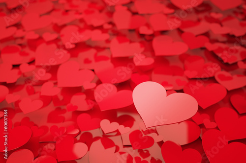 Red Hearts with shallow depth of field