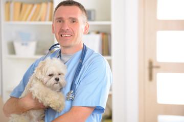 Happy vet with dog