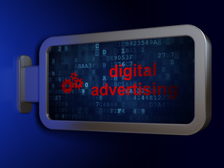 Advertising concept: Digital Advertising and Gears on billboard