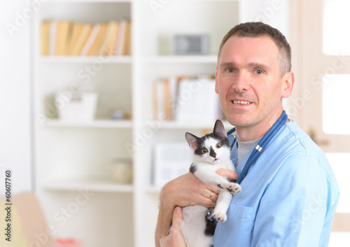 Happy vet with cat