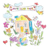 Sweet Home doodles Card